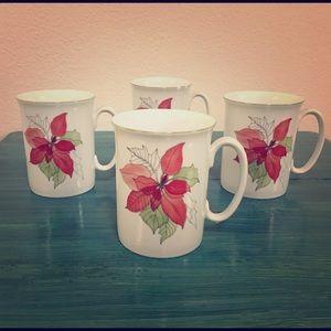 Set of 4 BLOCK SPAL Red Poinsettia Coffee Tea Mugs